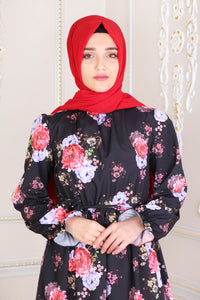 Black With Floral Pattern Dress - Buy Abaya Online