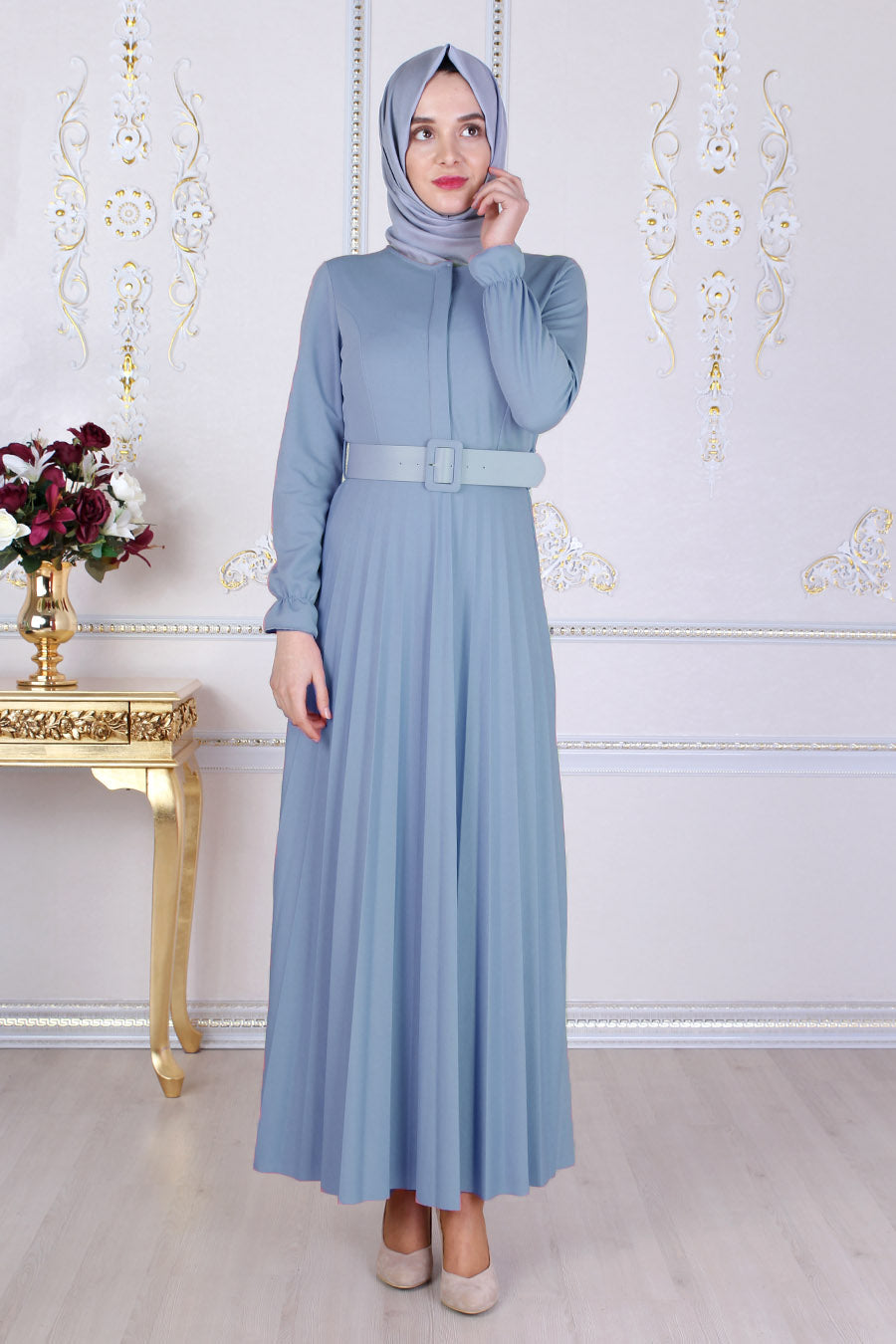 Powder Blue Abaya With Belt - Buy Abaya Online