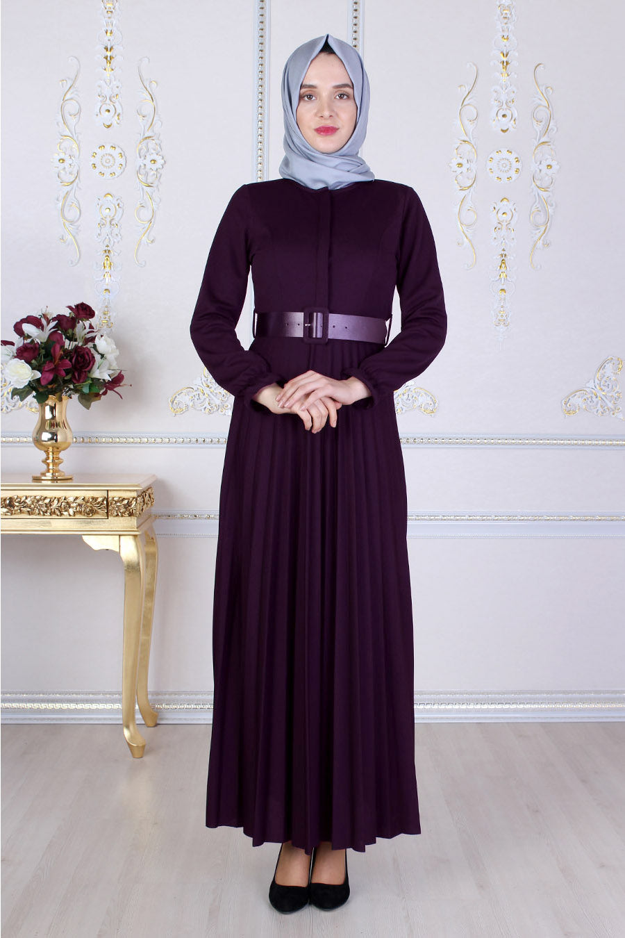 Purple Abaya With Belt - Buy Abaya Online