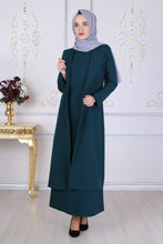 Load image into Gallery viewer, Petrol Blue Dress and Vest Jacket Set - Buy Abaya Online