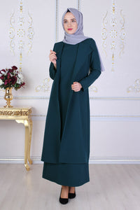 Petrol Blue Dress and Vest Jacket Set - Buy Abaya Online