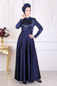 Bead Detail Navy Blue Evening Dress - Buy Abaya Online