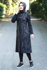 Black Coat With Plum Colour Pattern - Buy Abaya Online