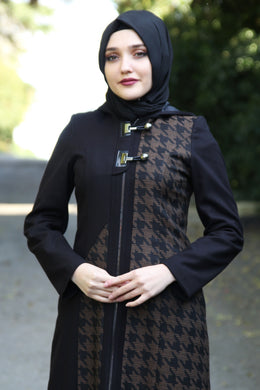 Black Coat With Tan Colour Pattern - Buy Abaya Online