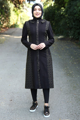 Black Coat With Khaki Pattern - Buy Abaya Online