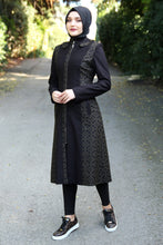 Load image into Gallery viewer, Black Coat With Khaki Pattern - Buy Abaya Online