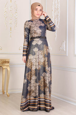 Navy Blue & Gold Pattern Dress - Buy Abaya Online