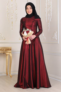 Pearl Detailed Claret Red Modest Evening Dress - Buy Abaya Online
