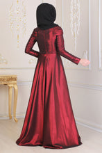 Load image into Gallery viewer, Pearl Detailed Claret Red Modest Evening Dress - Buy Abaya Online