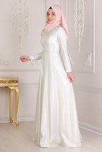 Load image into Gallery viewer, Pearl Detailed Ecru Modest Evening Dress - Buy Abaya Online