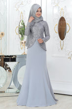 Load image into Gallery viewer, Light Grey Evening Dress - Buy Abaya Online