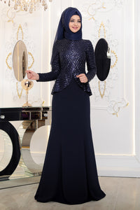 Navy Blue Modest Evening Dress - Buy Abaya Online