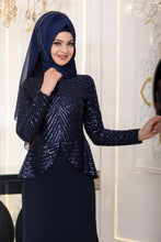 Load image into Gallery viewer, Navy Blue Modest Evening Dress - Buy Abaya Online