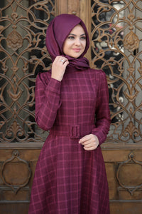 Plaid Plum Modest Dress - Buy Abaya Online