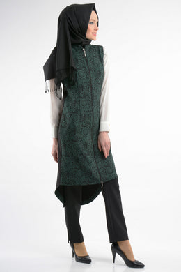 Patterned Green Vest Jacket - Buy Abaya Online