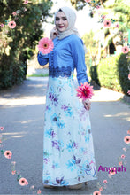 Load image into Gallery viewer, Flower Patterned Denim Dress - Buy Abaya Online