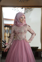 Load image into Gallery viewer, Pink Rose & Gold Detailed Evening Dress - Buy Abaya Online