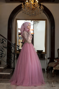 Pink Rose & Gold Detailed Evening Dress - Buy Abaya Online