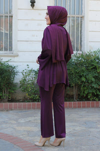 Purple Modest Tunic And Trouser Set With Belt - Buy Abaya Online