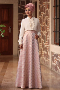 Fuchia Blouse And Powder Pink Colour Skirt - Buy Abaya Online