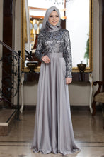 Load image into Gallery viewer, Beylem Grey Evening Dress