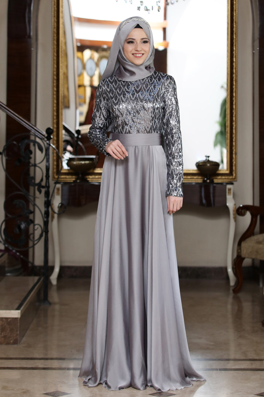 Beylem Grey Evening Dress