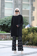 Load image into Gallery viewer, Black Modest Tunic And Patterned Trouser Set - Buy Abaya Online