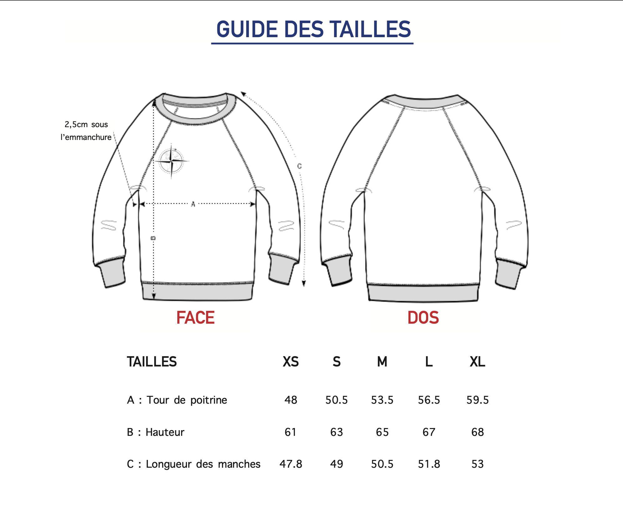 Guide des tailles pull manches 3/4 femme