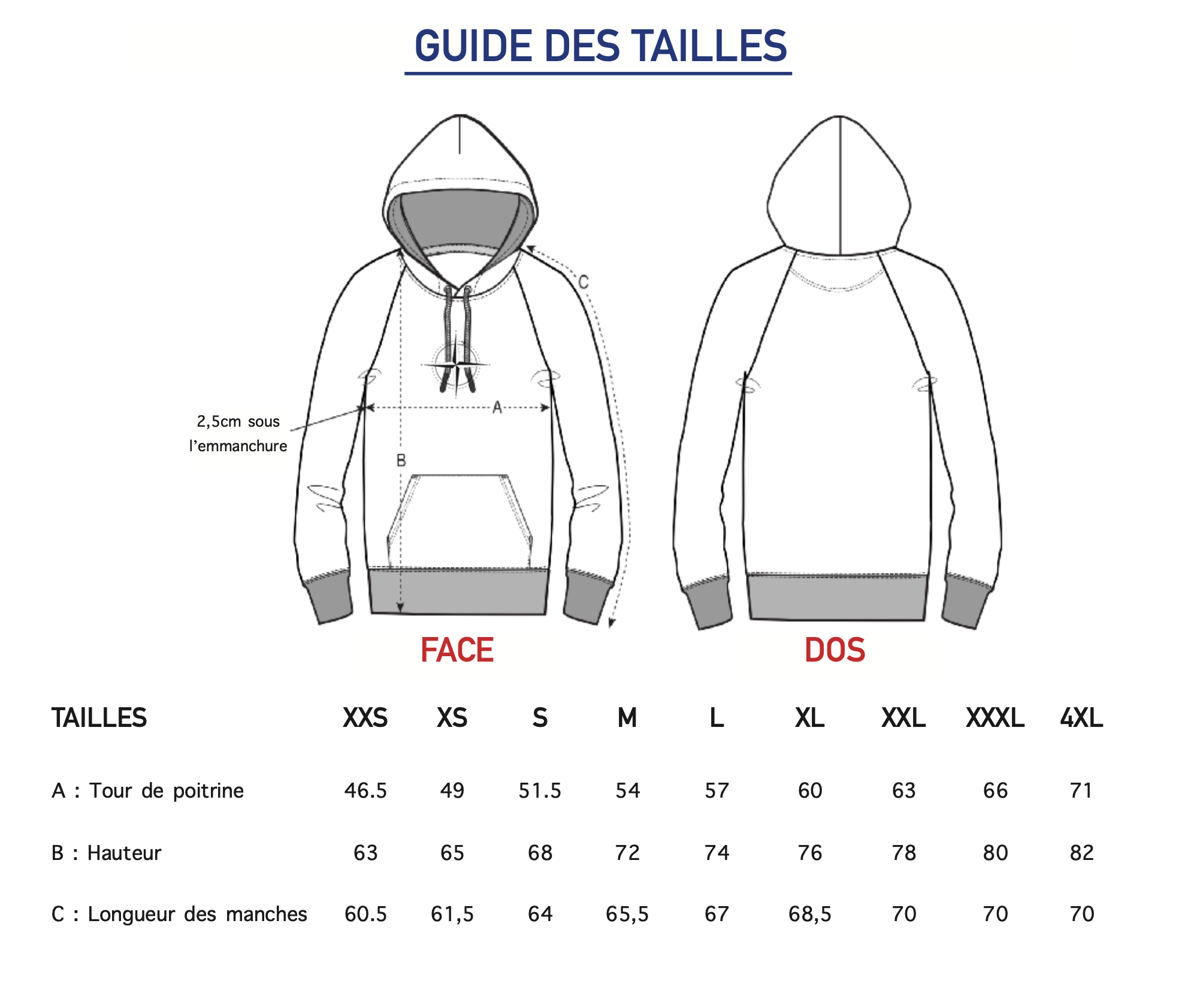 Guide des tailles Sweat Capuche Homme Harry Galbero