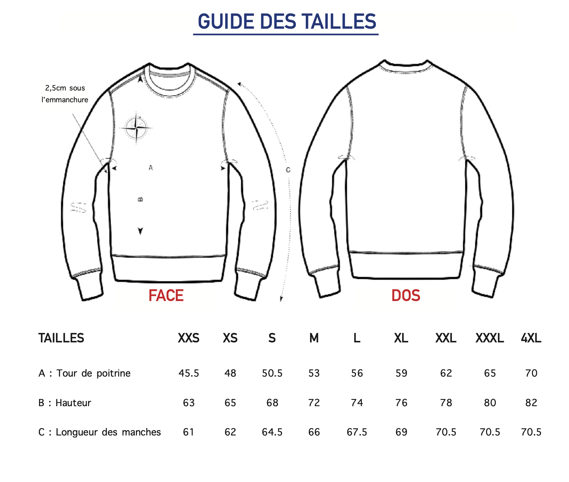 Guide des tailles Sweat Col Rond Homme Harry galbero