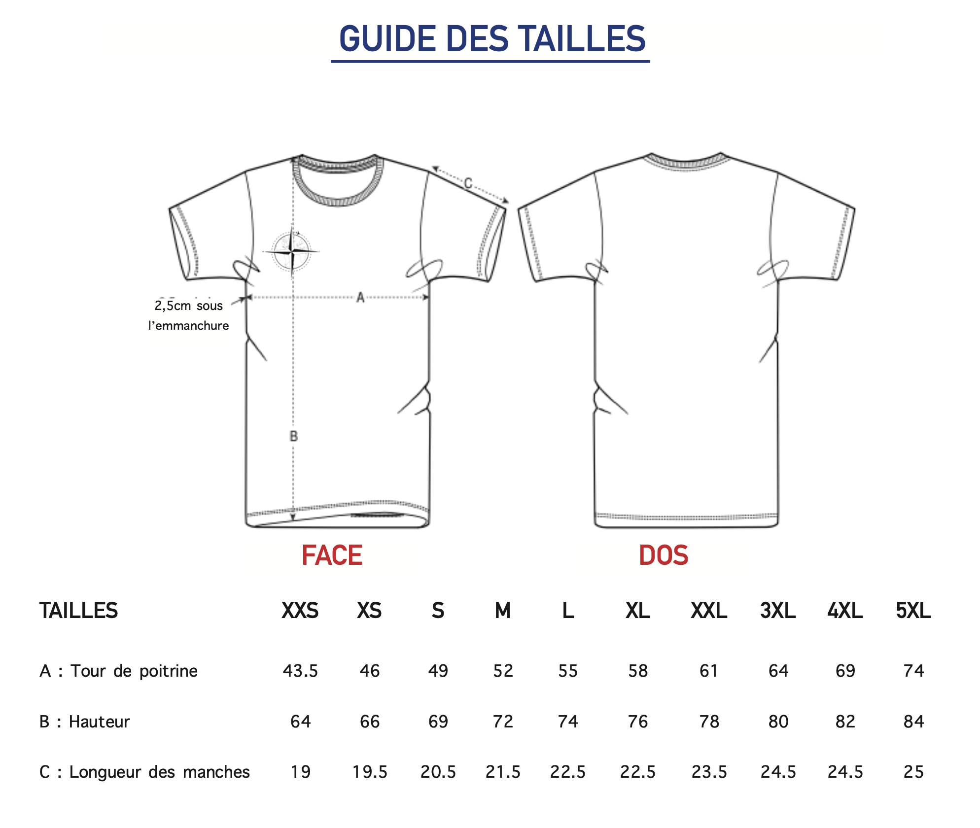Guide des taille T-shirt col rond Homme Harry Galbero