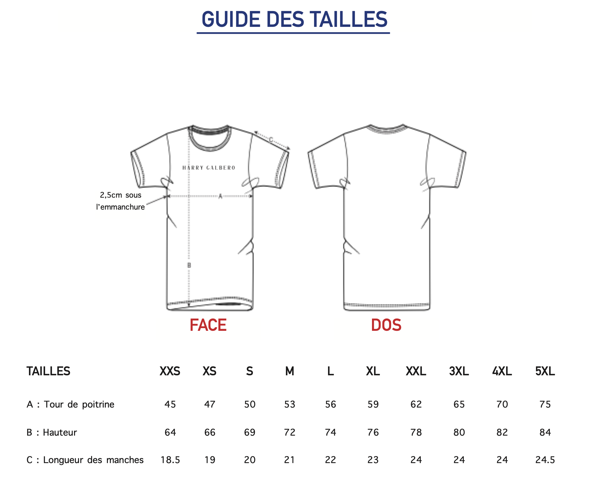Guide des tailles T-shirt Summer Harry Galbero