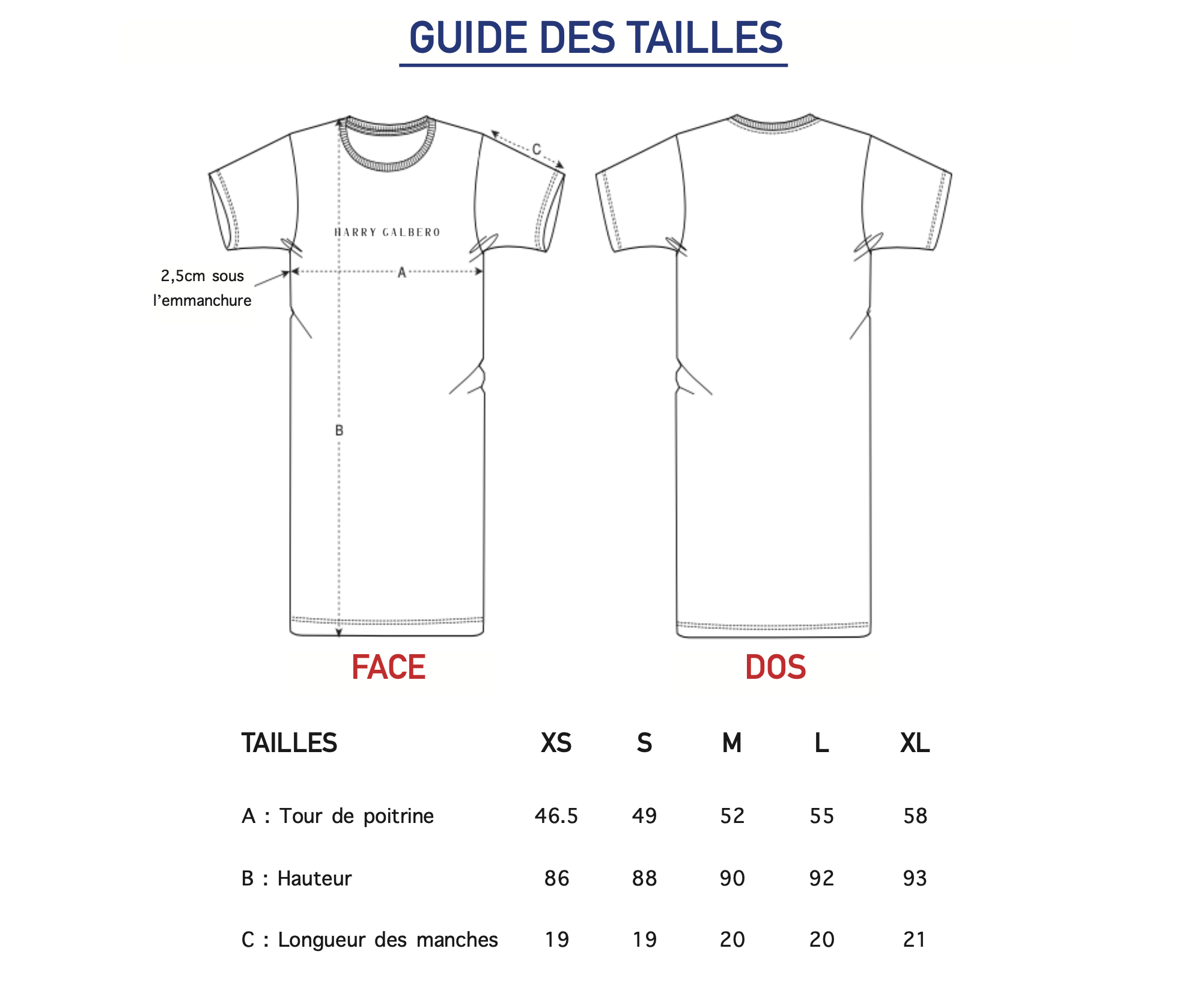 Guide des tailles Robe T-shit femme harry Galbero