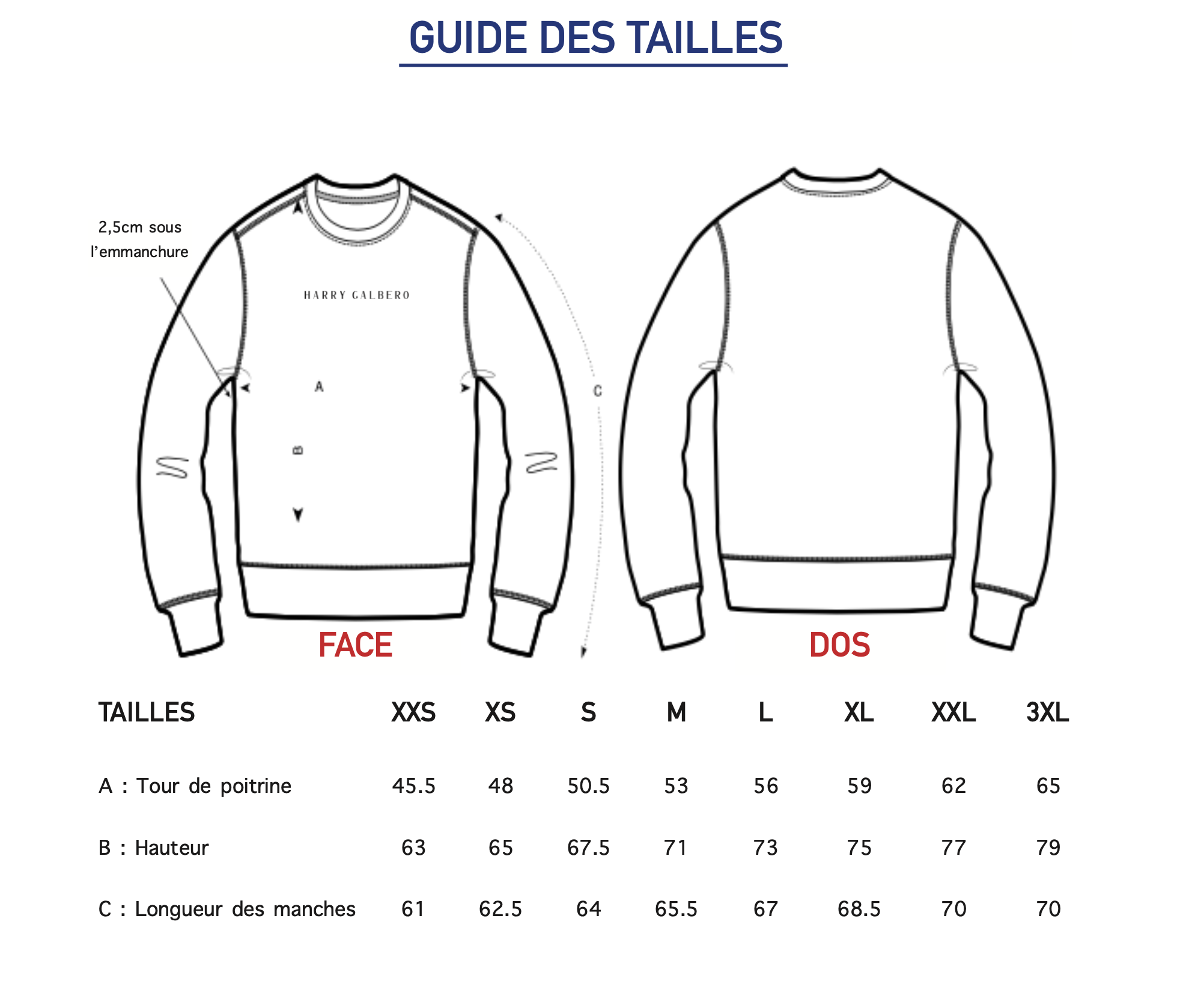 Guide des tailles Sweat Summer Homme Harry Galbero