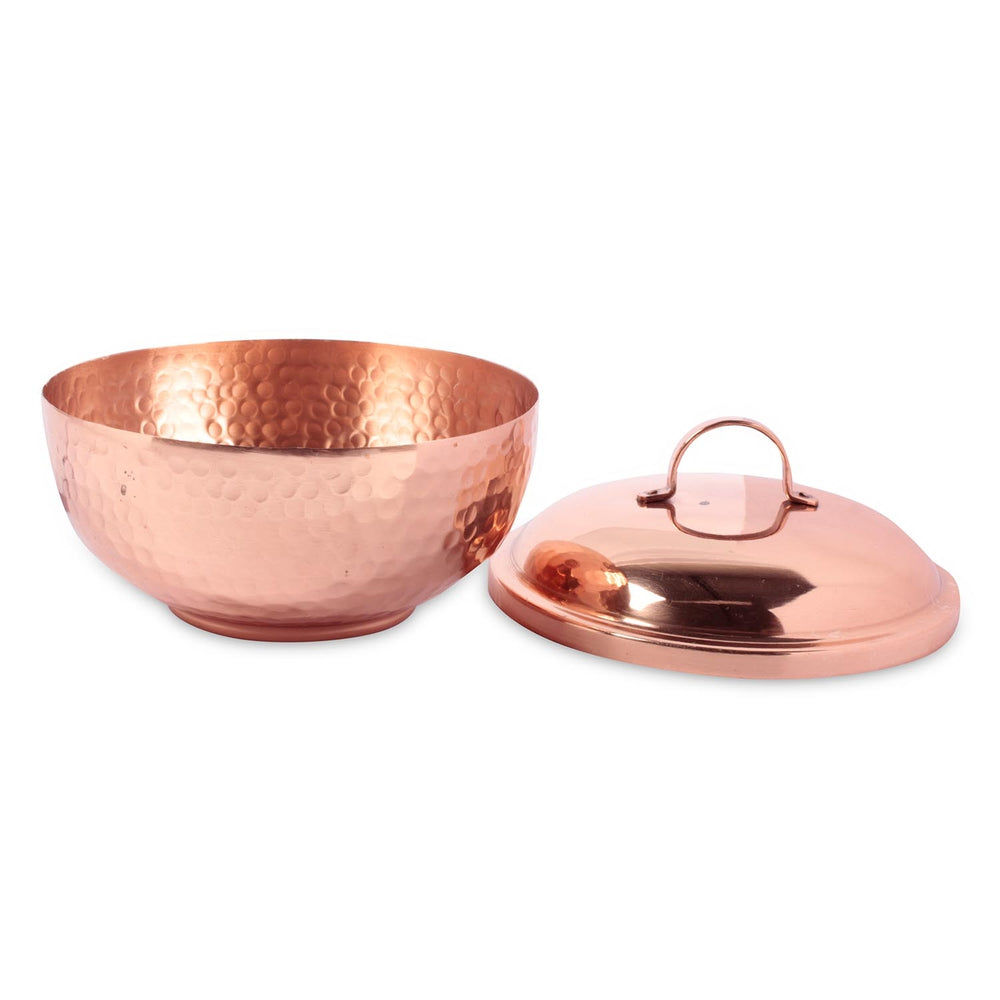 Hammered Copper Bowl with Lid