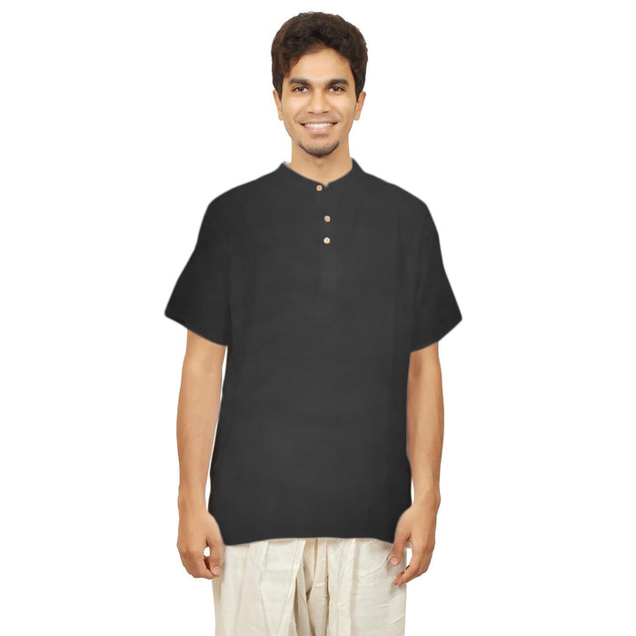 Men's Black Hemp Kurta