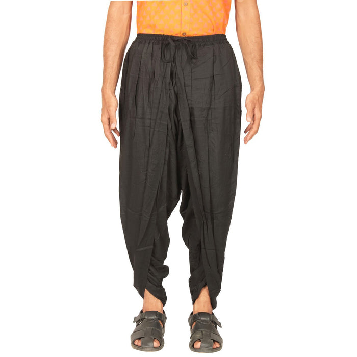 Mens Cotton Dhoti Pant - Black