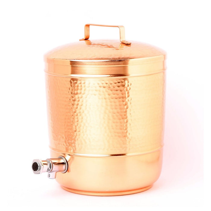 Hammered Copper Water Storage Pot, 8 Liters