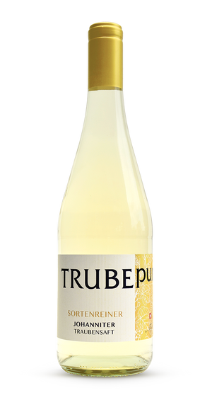 <strong>TRUBEpur weiss </strong><br>100% Johanniter-Traubensaft. (75 cl)