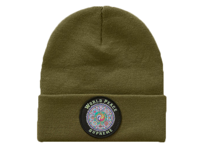 Supreme World Peace Beanie Olive