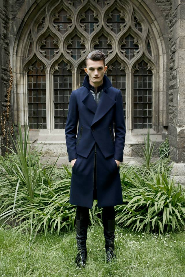 UNCONDITIONAL Navy | Black double layered long biker peacoat - used in The Hunger Games.