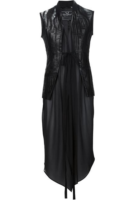 UNCONDITIONAL black microchip sleeveless jacket with black inner silk chiffon drape
