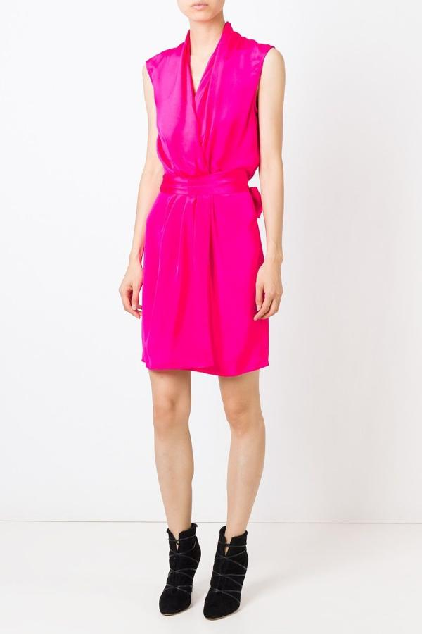UNCONDITIONAL Signature Hot Electric Pink silk crepe wrap dress