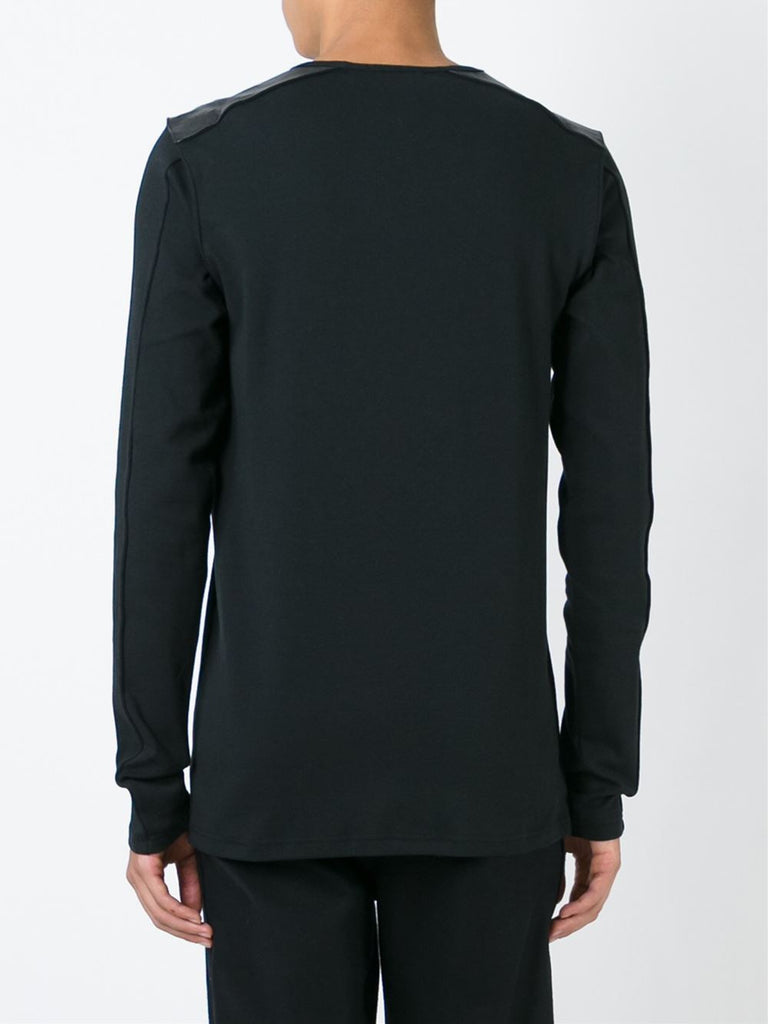 UNCONDITIONAL black long box sleeved T-shirt with leather shoulders