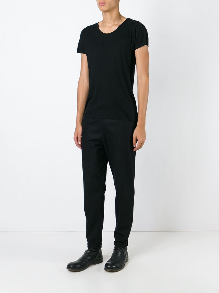 UNCONDITIONAL BLACK signature scoop neck fine cotton jersey  T-shirt with centre back seam.