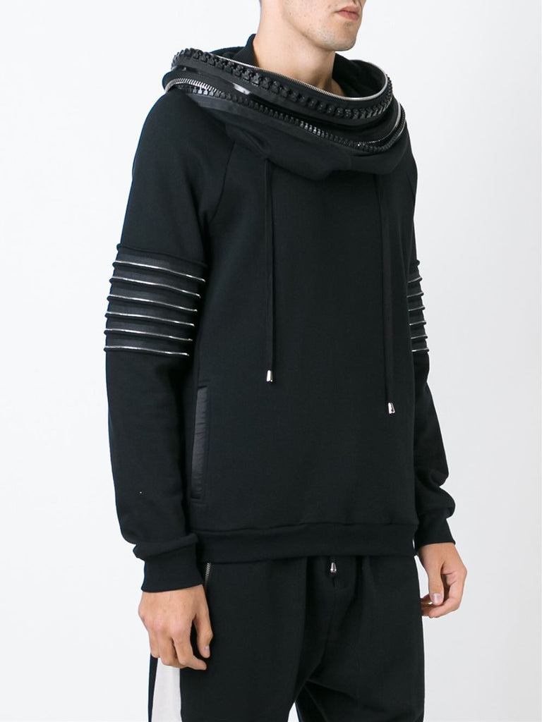 UNCONDITIONAL SS18 Military cold dye funnel neck hoodie with neck & arm zip detailing