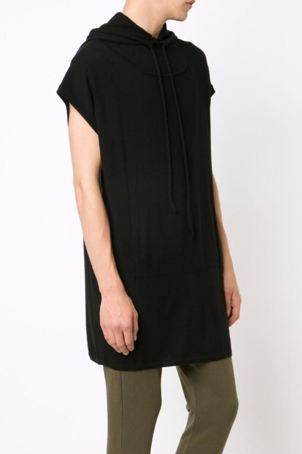 UNCONDITIONAL BLACK MERINO UNISEX HOODED TUNIC WITH POCKET