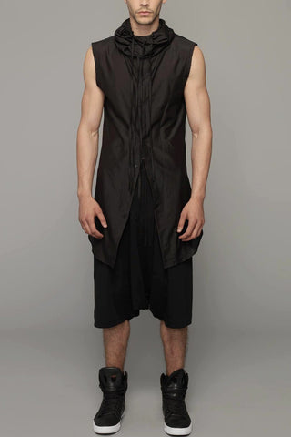 UNCONDITIONAL SS20 Black raw finish luxe sweat shorts with low zip pocket and rib waistband