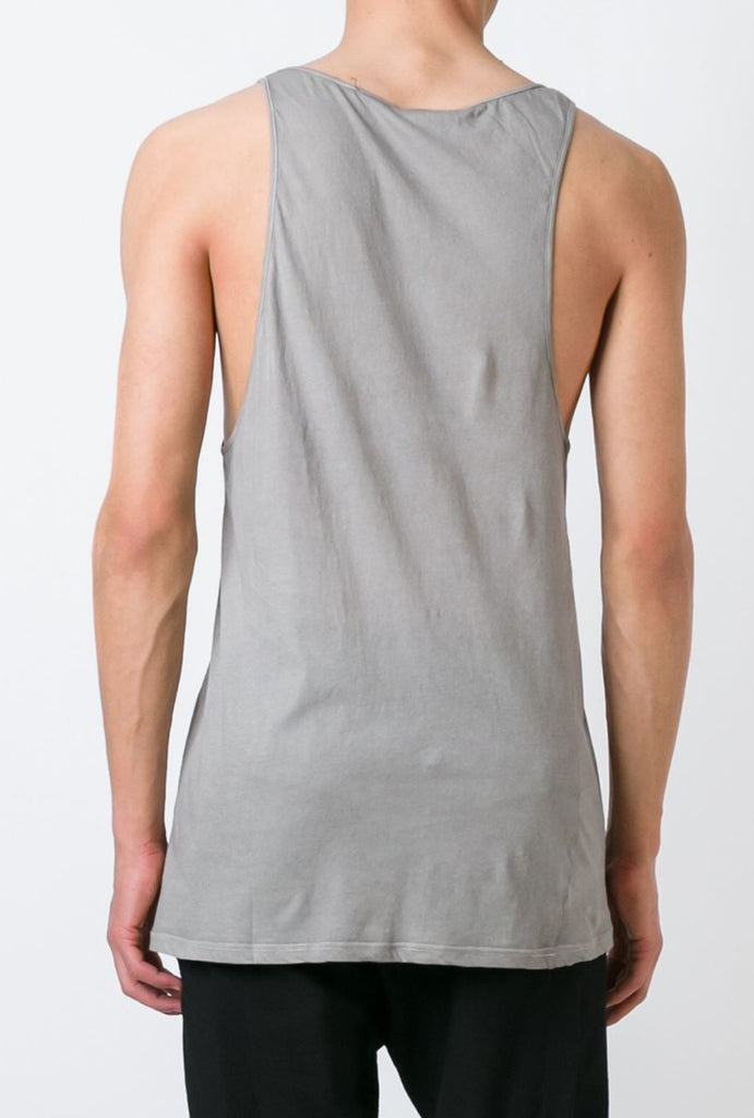 UNCONDITIONAL Desert sand cold dye longer fine jersey vest.