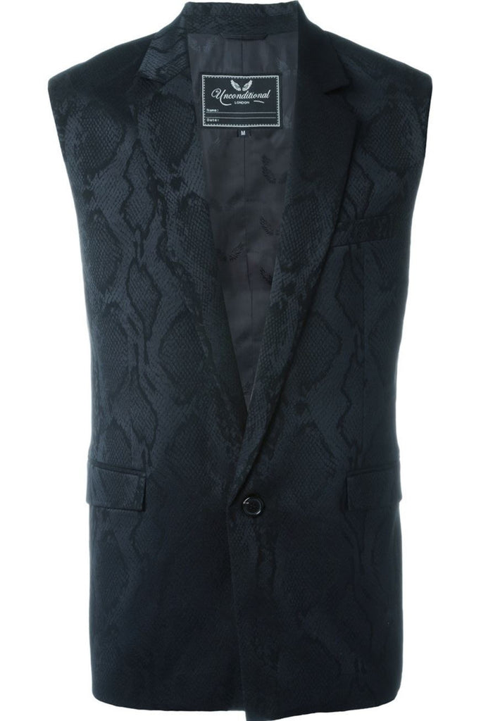 UNCONDITIONAL Sleeveless woven black on black snake 1 button jacket